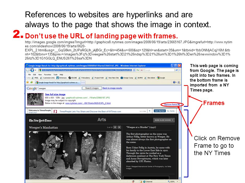 References to websites are hyperlinks and are always to the page that shows the image in context.