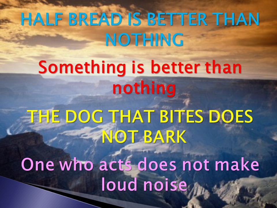 HALF BREAD IS BETTER THAN NOTHING Something is better than nothing THE DOG THAT BITES DOES NOT BARK One who acts does not make loud noise