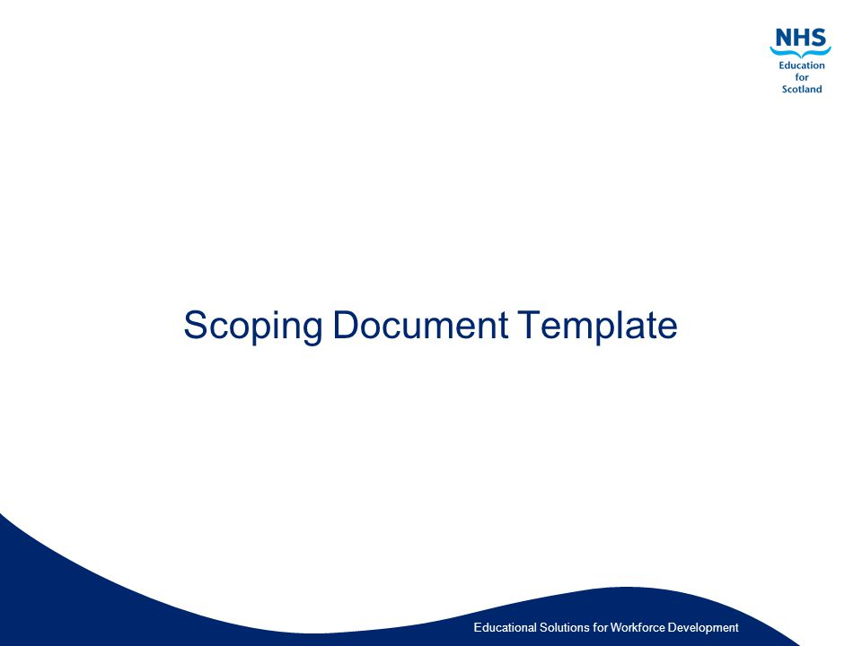 Educational Solutions for Workforce Development Scoping Document Template