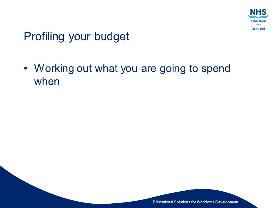 Educational Solutions for Workforce Development Profiling your budget Working out what you are going to spend when