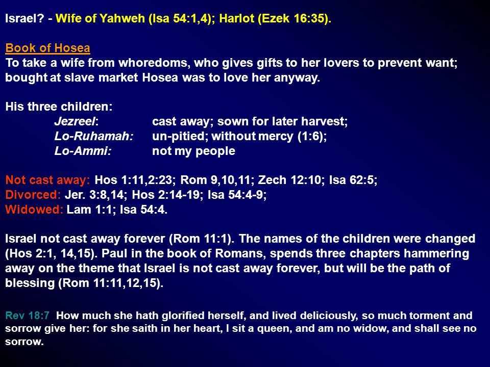 Israel. - Wife of Yahweh (Isa 54:1,4); Harlot (Ezek 16:35).
