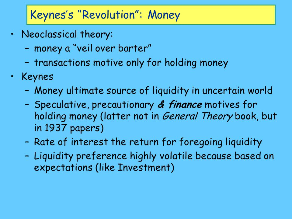 Keynes's Revolution : Money Neoclassical theory: –money a veil over barter –transactions motive only for holding money Keynes –Money ultimate source of liquidity in uncertain world –Speculative, precautionary & finance motives for holding money (latter not in General Theory book, but in 1937 papers) –Rate of interest the return for foregoing liquidity –Liquidity preference highly volatile because based on expectations (like Investment)