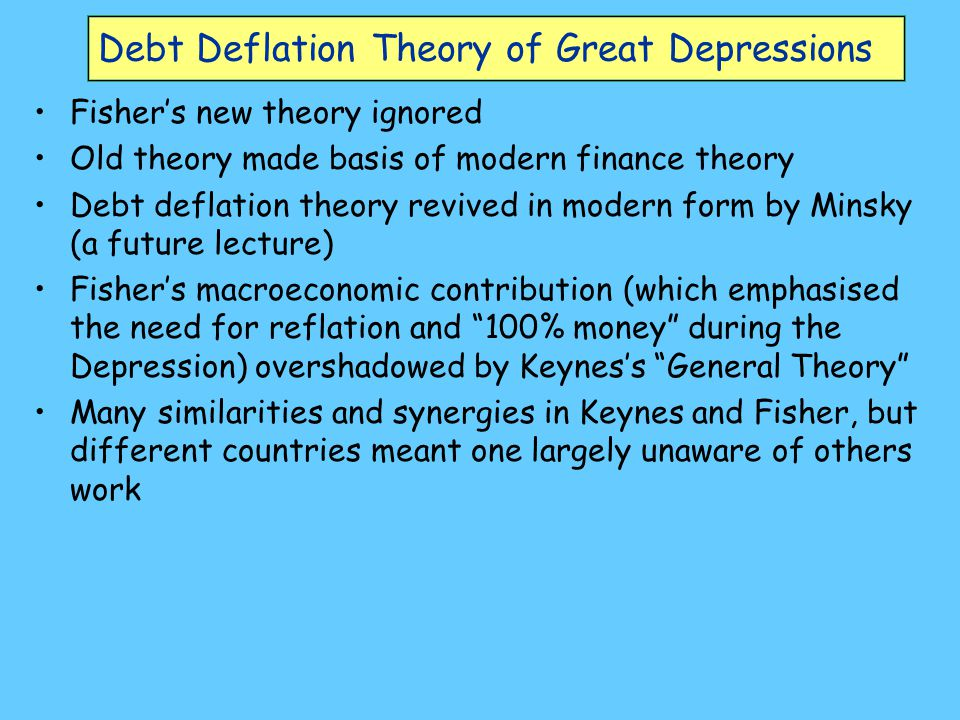 Debt Deflation Theory of Great Depressions Fisher's new theory ignored Old theory made basis of modern finance theory Debt deflation theory revived in modern form by Minsky (a future lecture) Fisher's macroeconomic contribution (which emphasised the need for reflation and 100% money during the Depression) overshadowed by Keynes's General Theory Many similarities and synergies in Keynes and Fisher, but different countries meant one largely unaware of others work