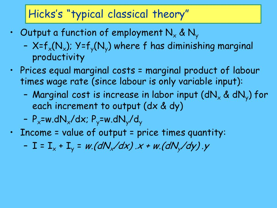 Hicks's typical classical theory Output a function of employment N x & N y –X=f x (N x ); Y=f y (N y ) where f has diminishing marginal productivity Prices equal marginal costs = marginal product of labour times wage rate (since labour is only variable input): –Marginal cost is increase in labor input (dN x & dN y ) for each increment to output (dx & dy) –P x =w.dN x /dx; P y =w.dN y /d y Income = value of output = price times quantity: –I = I x + I y = w.(dN x /dx).x + w.(dN y /dy).y