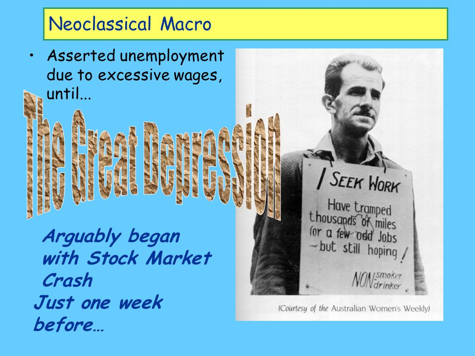 Neoclassical Macro Asserted unemployment due to excessive wages, until...