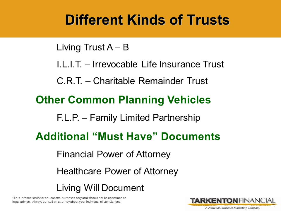 Living Trust A – B I.L.I.T. – Irrevocable Life Insurance Trust C.R.T.