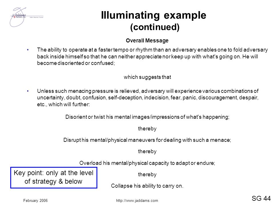 February 2006http://www.jaddams.com Illuminating example (continued) Overall Message The ability to operate at a faster tempo or rhythm than an advers