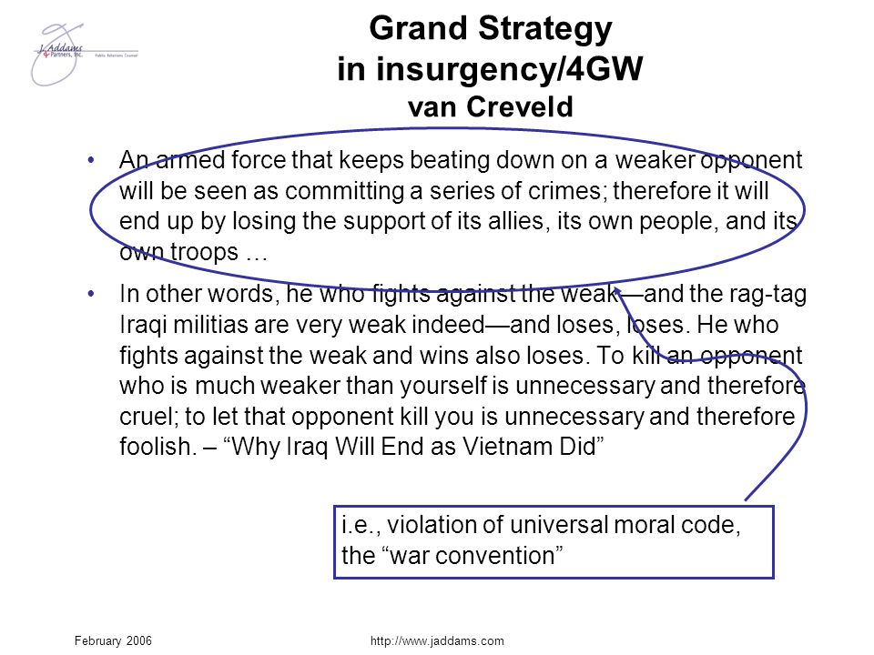 February 2006http://www.jaddams.com Grand Strategy in insurgency/4GW van Creveld An armed force that keeps beating down on a weaker opponent will be s
