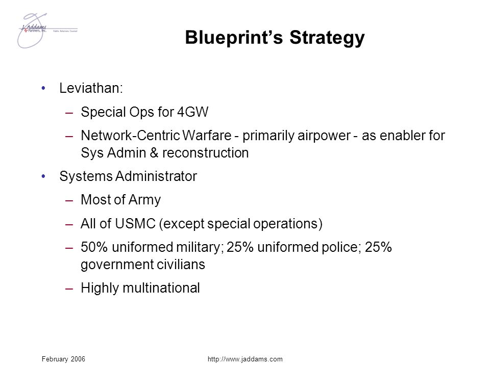 February 2006http://www.jaddams.com Blueprint's Strategy Leviathan: –Special Ops for 4GW –Network-Centric Warfare - primarily airpower - as enabler fo