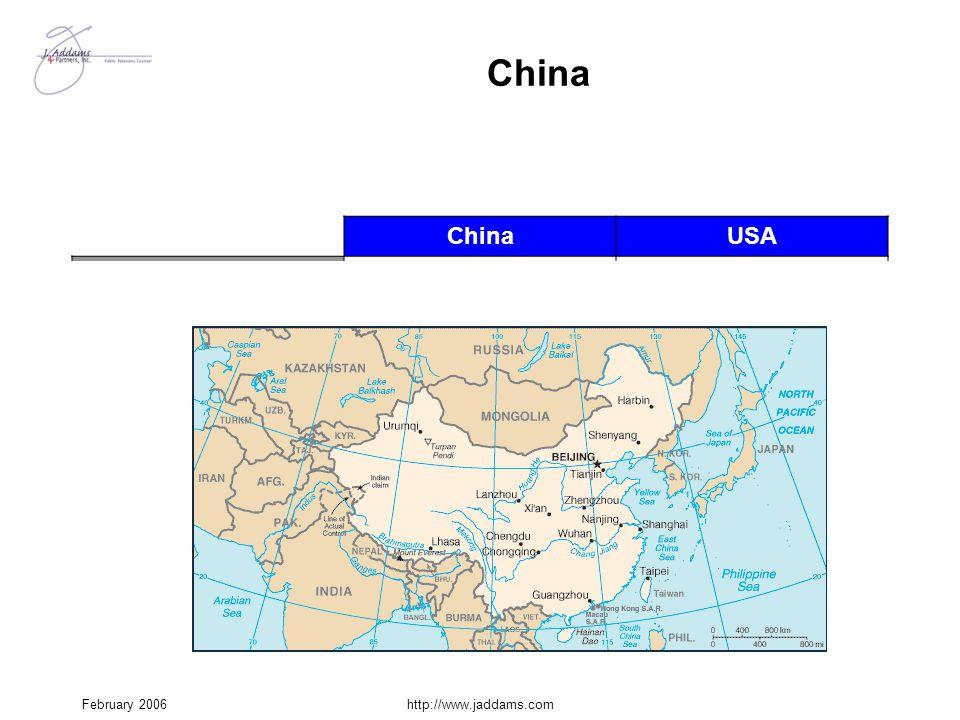 February 2006http://www.jaddams.com China USA Potentially hostile border 13,700 mi.0 Restive minorities Tibetans, Uygurs, Mongolians, etc. 0 Breakaway