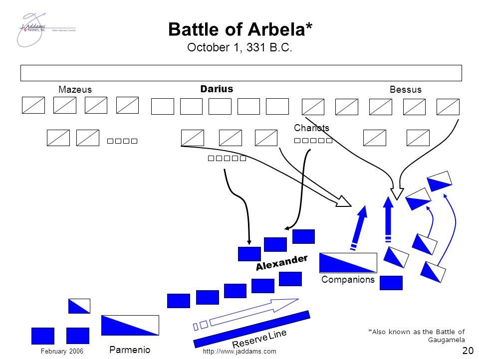 February 2006http://www.jaddams.com Battle of Arbela* October 1, 331 B.C. Parmenio Reserve Line Chariots Alexander Companions Darius MazeusBessus *Als
