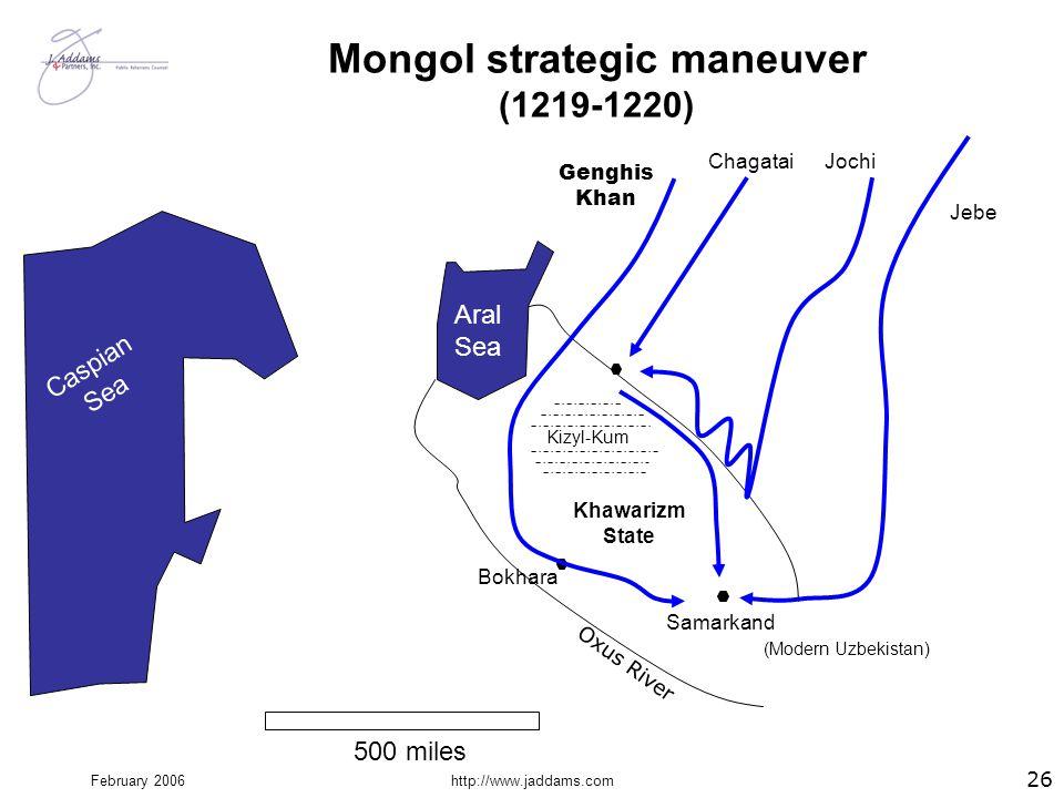 February 2006http://www.jaddams.com Mongol strategic maneuver (1219-1220) Kizyl-Kum Khawarizm State Bokhara Samarkand Caspian Sea Aral Sea Genghis Kha