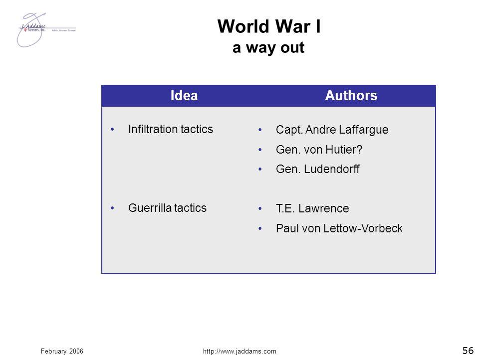 February 2006http://www.jaddams.com World War I a way out 56 Infiltration tactics Guerrilla tactics Capt. Andre Laffargue Gen. von Hutier? Gen. Ludend
