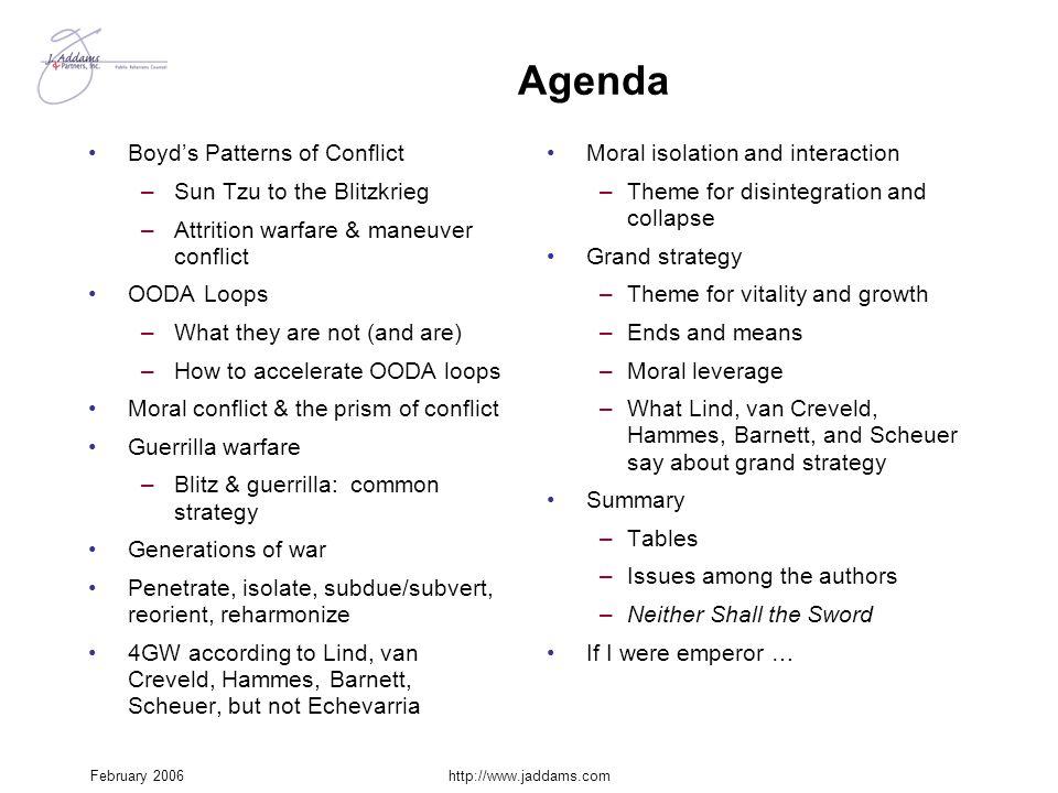February 2006http://www.jaddams.com Agenda Boyd's Patterns of Conflict –Sun Tzu to the Blitzkrieg –Attrition warfare & maneuver conflict OODA Loops –W