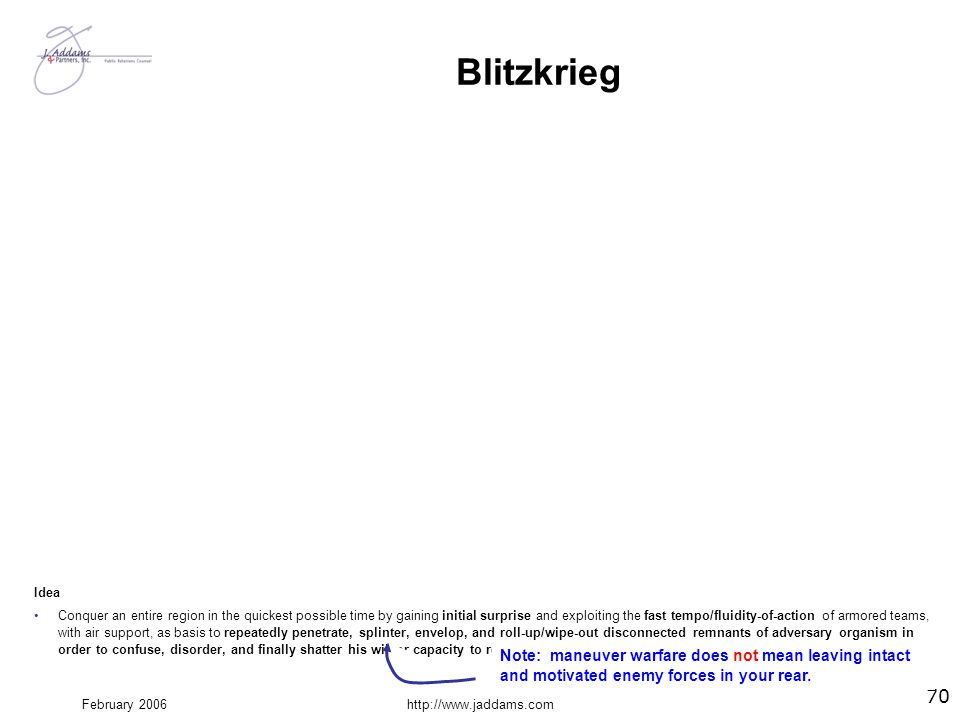 February 2006http://www.jaddams.com Blitzkrieg Action Intelligence—signal, photo, agent … reconnaissance (air and ground)—and patrol actions probe and