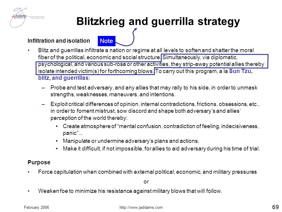February 2006http://www.jaddams.com Blitzkrieg and guerrilla strategy Infiltration and isolation Blitz and guerrillas infiltrate a nation or regime at