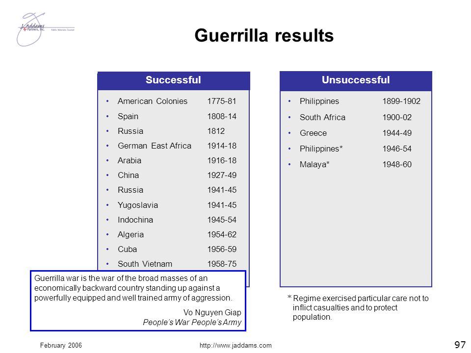 February 2006http://www.jaddams.com Guerrilla results 97 1775-81 1808-14 1812 1914-18 1916-18 1927-49 1941-45 1945-54 1954-62 1956-59 1958-75 Successf