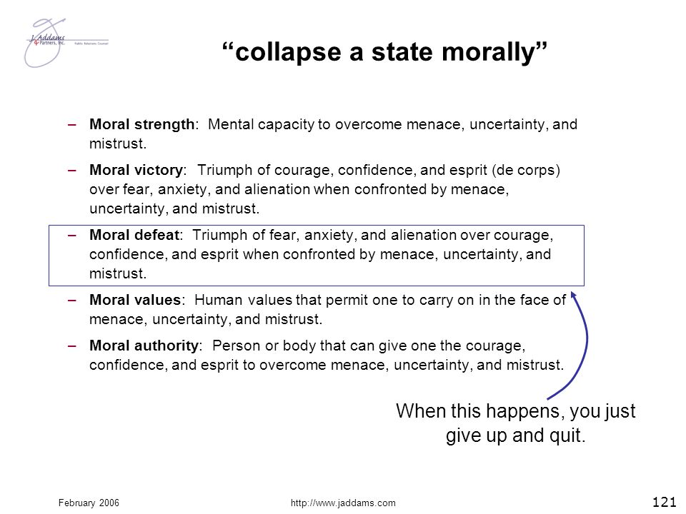 """February 2006http://www.jaddams.com """"collapse a state morally"""" –Moral strength: Mental capacity to overcome menace, uncertainty, and mistrust. –Moral"""