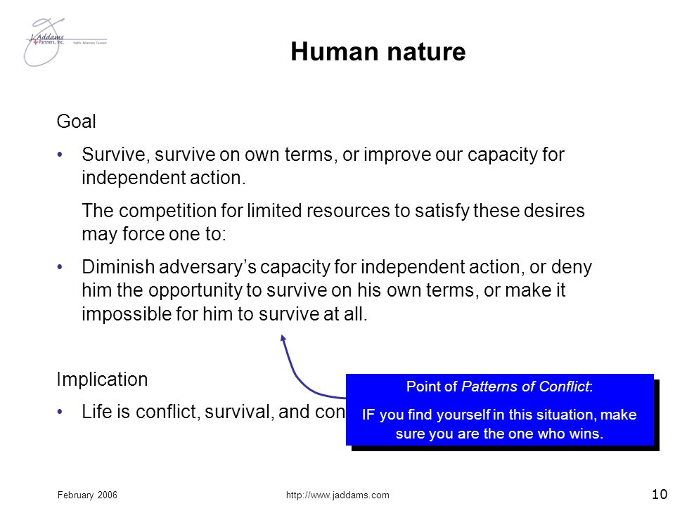 February 2006http://www.jaddams.com Human nature Goal Survive, survive on own terms, or improve our capacity for independent action. The competition f