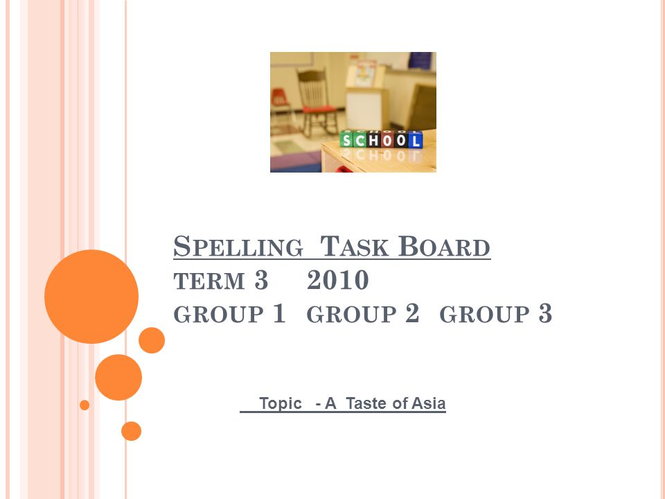 S PELLING T ASK B OARD TERM 3 2010 GROUP 1 GROUP 2 GROUP 3 Topic - A Taste of Asia