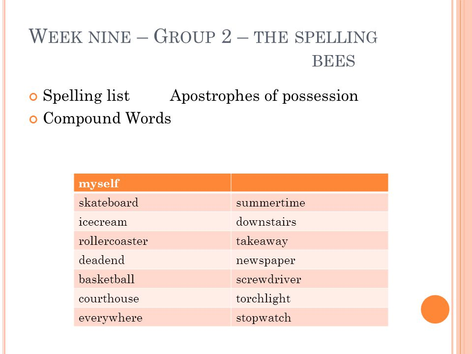 W EEK NINE – G ROUP 2 – THE SPELLING BEES Spelling listApostrophes of possession Compound Words myself skateboardsummertime icecreamdownstairs rollerc