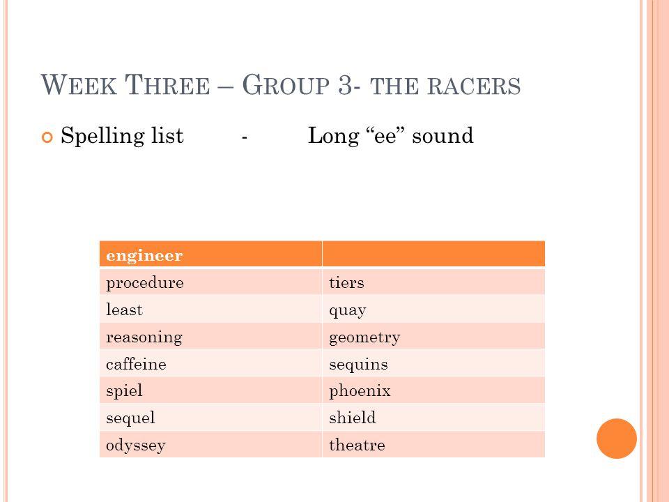 "W EEK T HREE – G ROUP 3- THE RACERS Spelling list -Long ""ee"" sound engineer proceduretiers leastquay reasoninggeometry caffeinesequins spielphoenix se"