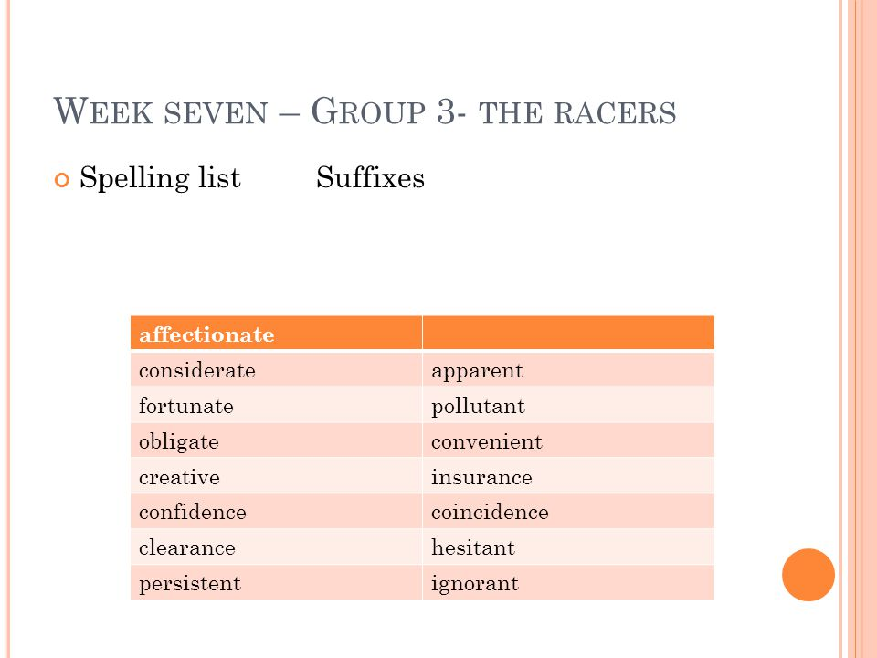 W EEK SEVEN – G ROUP 3- THE RACERS Spelling list Suffixes affectionate considerateapparent fortunatepollutant obligateconvenient creativeinsurance confidencecoincidence clearancehesitant persistentignorant