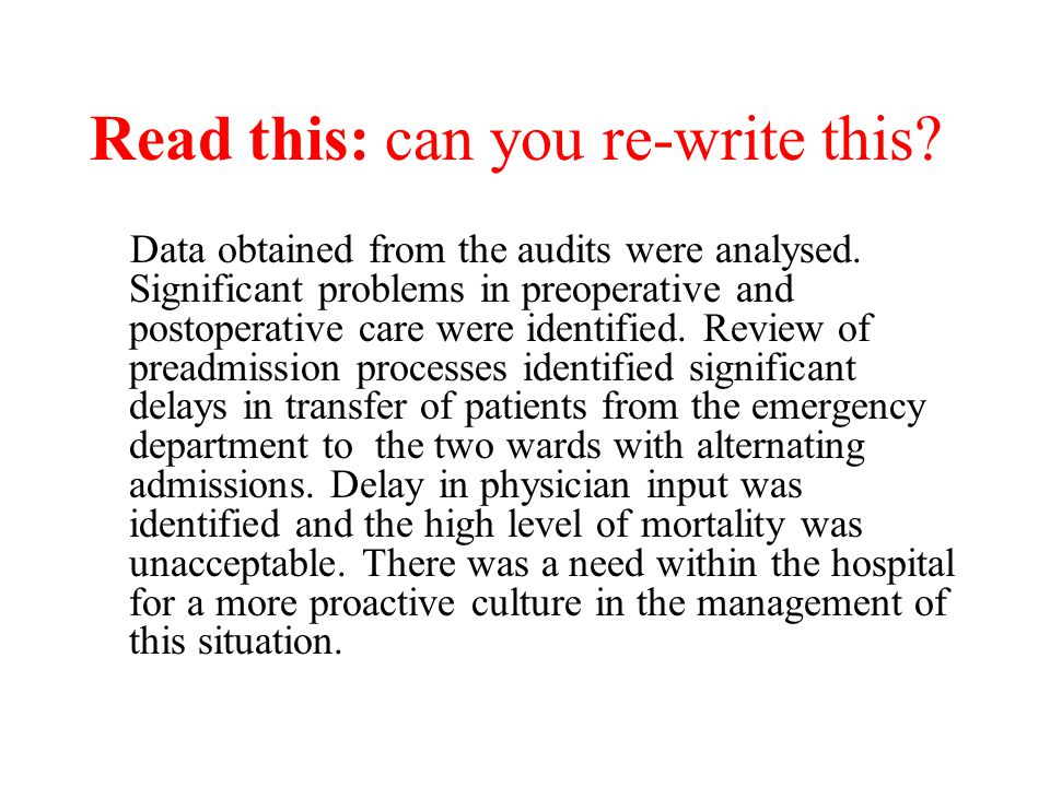 Read this: can you re-write this? Data obtained from the audits were analysed. Significant problems in preoperative and postoperative care were identi
