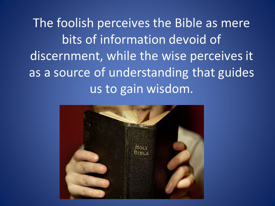 The foolish perceives the Bible as mere bits of information devoid of discernment, while the wise perceives it as a source of understanding that guides us to gain wisdom.