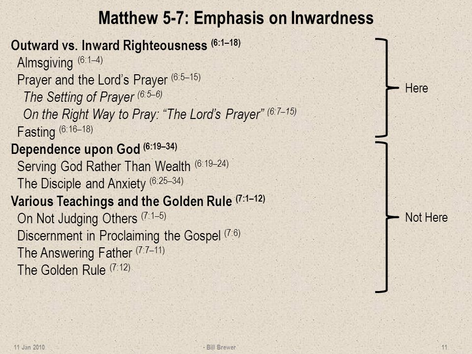 Matthew 5-7: Emphasis on Inwardness Outward vs.