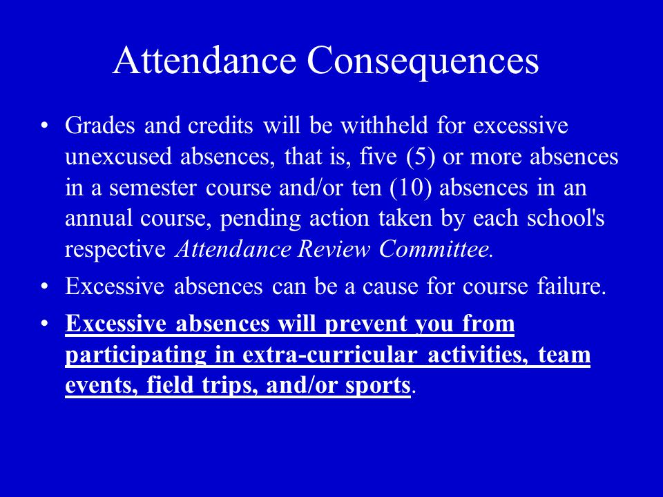 Attendance Consequences Grades and credits will be withheld for excessive unexcused absences, that is, five (5) or more absences in a semester course and/or ten (10) absences in an annual course, pending action taken by each school s respective Attendance Review Committee.