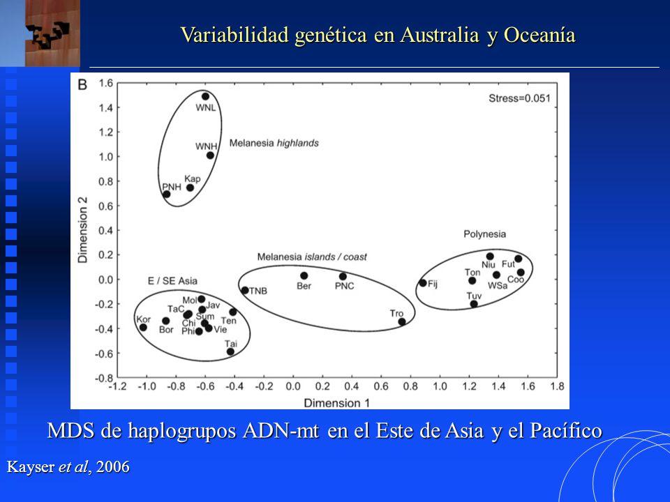 Distribución de haplogrupos Y-SNPs en el Este de Asia y el Pacífico Kayser et al, 2006 Variabilidad genética en Australia y Oceanía