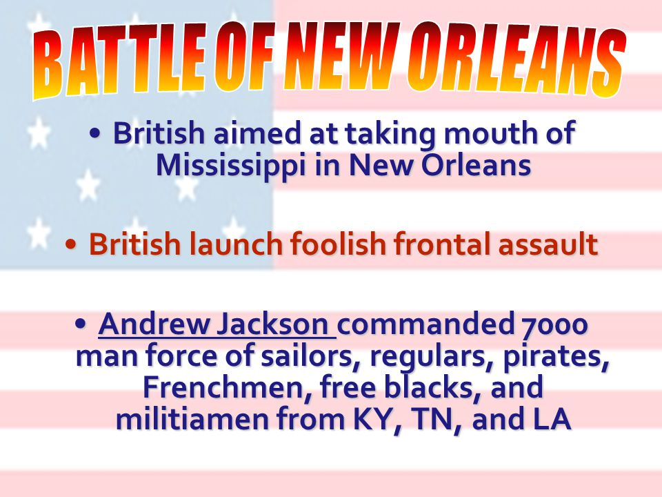 Indian attacks on US military causes Andrew Jackson to retaliate against a Creek villageIndian attacks on US military causes Andrew Jackson to retaliate against a Creek village 300 warriors killed300 warriors killed Largest Indian massacre in US history.Largest Indian massacre in US history.
