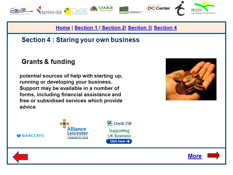 HomeHome | Section 1 I Section 2| Section 3| Section 4Section 1 Section 2Section 3Section 4 More Section 4 : Staring your own business Grants & funding potential sources of help with starting up, running or developing your business.