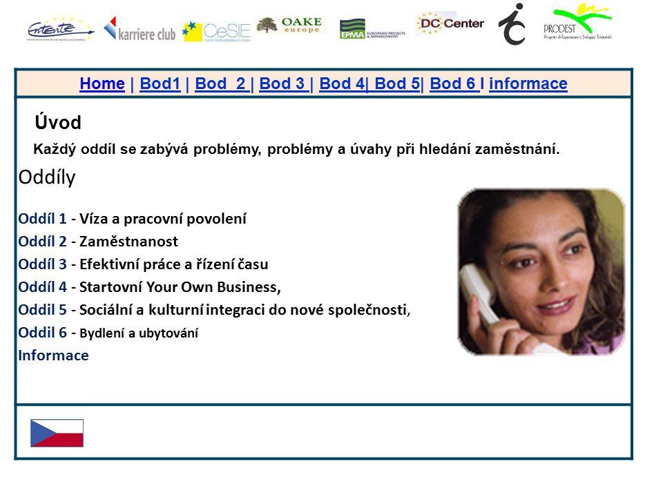 + HomeHome | Bod1 | Bod 2 | Bod 3 | Bod 4| Bod 5| Bod 6 I informace Úvod Každý oddíl se zabývá problémy, problémy a úvahy při hledání zaměstnání. Oddí