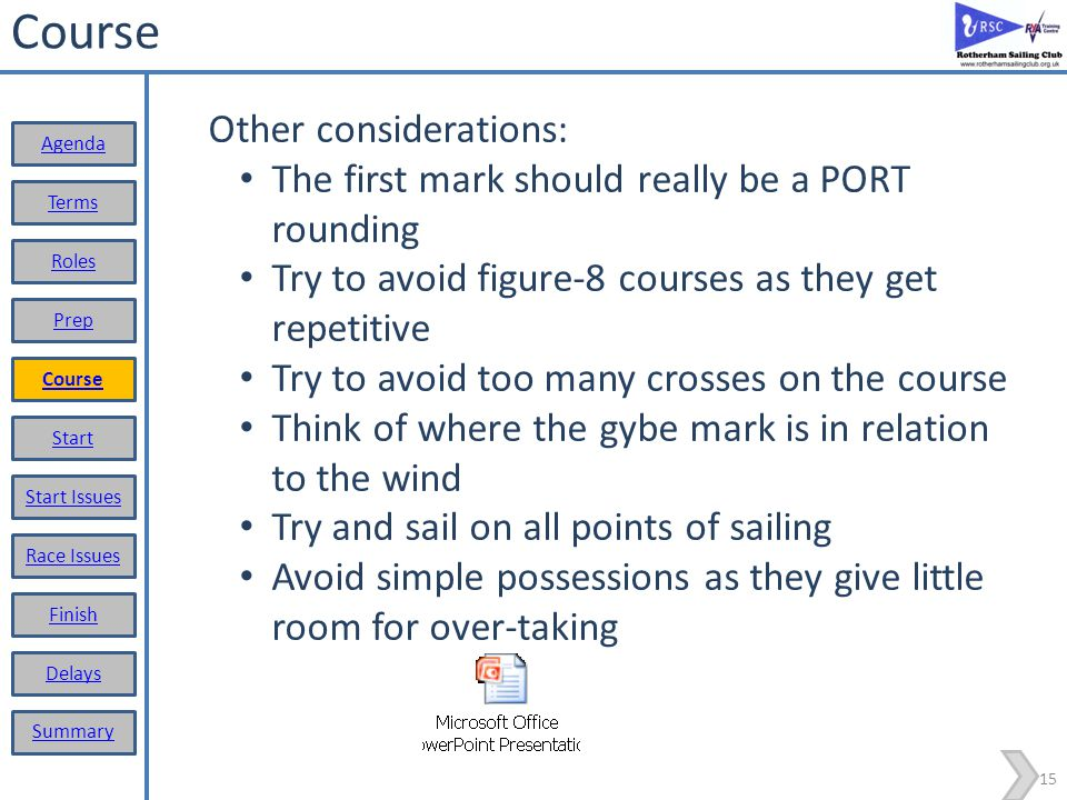 14 Course Considerations before setting the course: Wind direction, try to have a beat start and try to include reach and a run Set a longer course than expected – easier to shorten it later (shorten course); Look for wind shadows, direction changes, hazards (weed); Check all the buoys are in place, consider if they should be moved; Avoid looping around marks Display course in good time Consider using one of the standard courses Set the start and finish lines the best you can – we need to acknowledge wind shifts Terms Roles Prep Course Start Start Issues Race Issues Finish Delays Summary Agenda