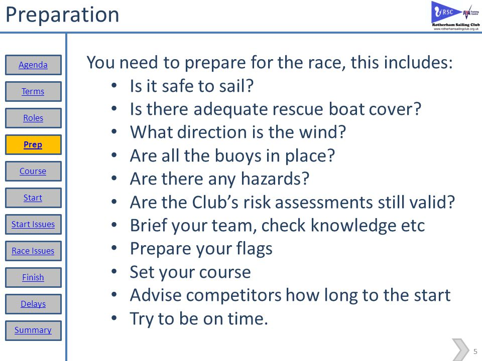 4 Roles and responsibilities The Race Officer is responsible for the conduct of the racing, which includes: Ensure races are run in accordance with the rules; Maintain and record scores/times; Assure the safety of the fleet, considering: Risk assessments; Weather and water conditions; Confirm if non-racing dinghies can sail (bylaw 19.9) Stop a boat/person from sailing if in Race Officer opinion it is not safe to do so (bylaw 19.9.a) Ensuring adequate safety boat cover Set the course Don't forget: Arrange a swap with someone else if you cant make your allocated date.