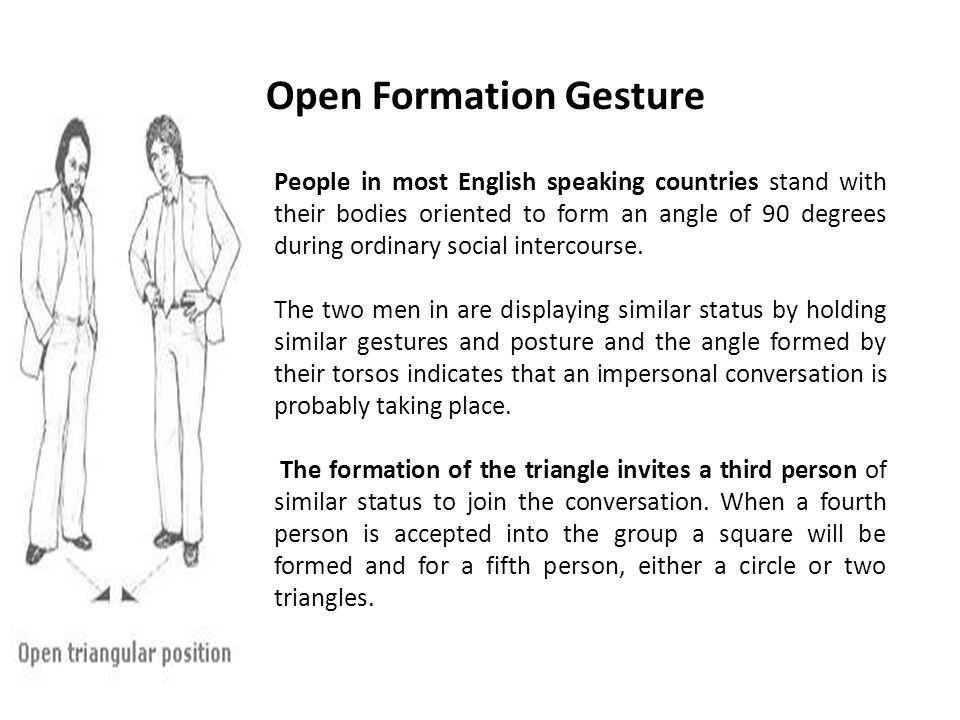 Open Formation Gesture People in most English speaking countries stand with their bodies oriented to form an angle of 90 degrees during ordinary social intercourse.