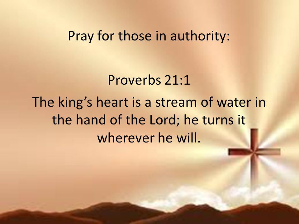 Pray for those in authority: Proverbs 21:1 The king's heart is a stream of water in the hand of the Lord; he turns it wherever he will.
