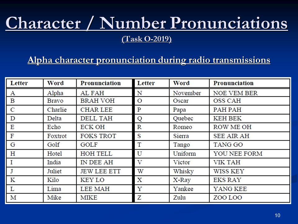 Character / Number Pronunciations (Task O-2019) Alpha character pronunciation during radio transmissions 10