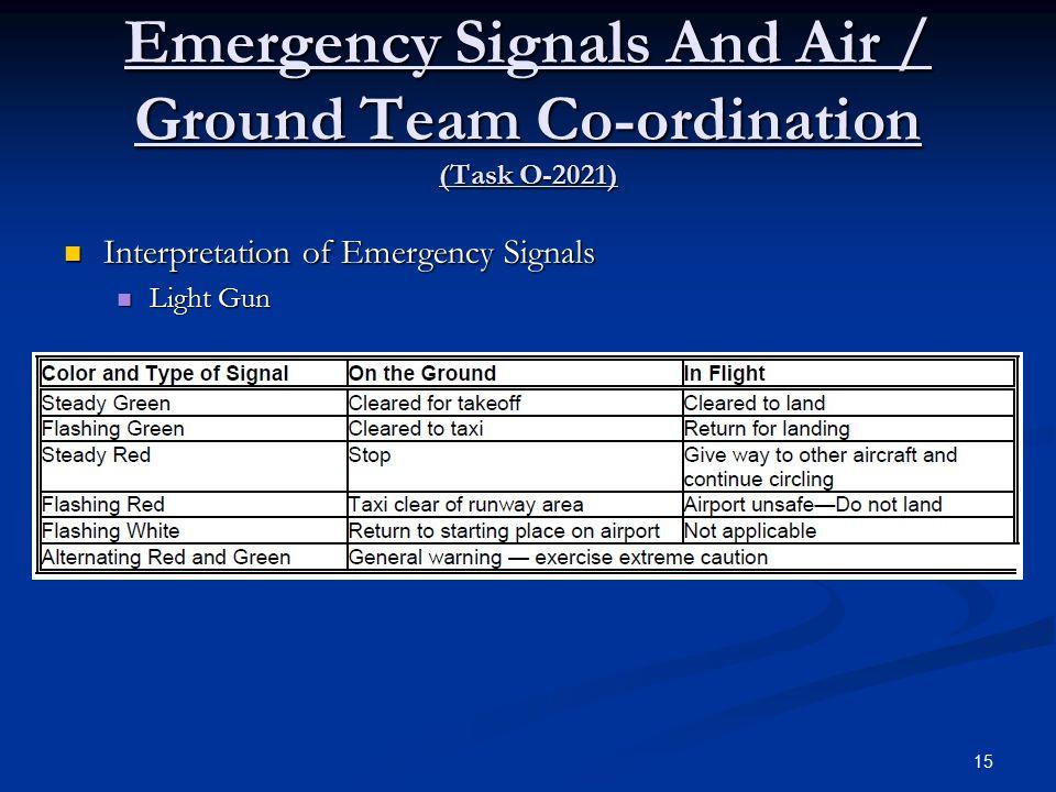 Emergency Signals And Air / Ground Team Co-ordination (Task O-2021) Interpretation of Emergency Signals Interpretation of Emergency Signals Light Gun Light Gun 15
