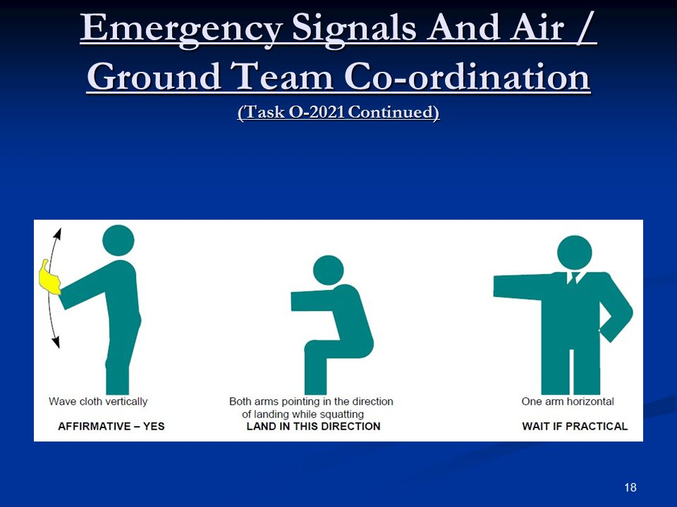 Emergency Signals And Air / Ground Team Co-ordination (Task O-2021 Continued) 18