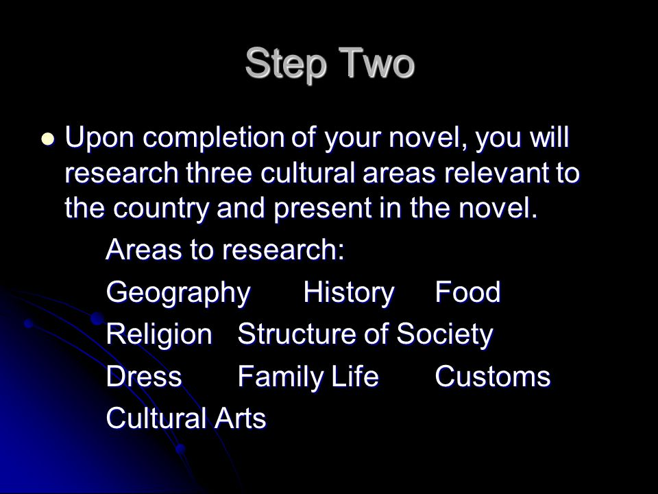 Step Two Upon completion of your novel, you will research three cultural areas relevant to the country and present in the novel.