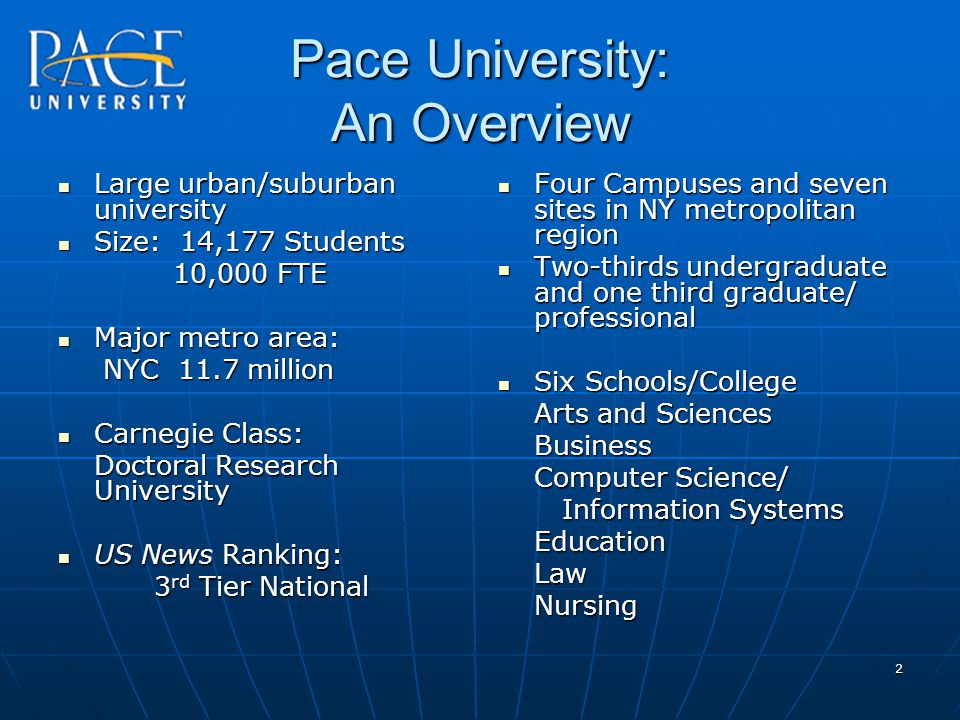 2 Pace University: An Overview Large urban/suburban university Large urban/suburban university Size: 14,177 Students Size: 14,177 Students 10,000 FTE 10,000 FTE Major metro area: Major metro area: NYC 11.7 million NYC 11.7 million Carnegie Class: Carnegie Class: Doctoral Research University US News Ranking: US News Ranking: 3 rd Tier National Four Campuses and seven sites in NY metropolitan region Four Campuses and seven sites in NY metropolitan region Two-thirds undergraduate and one third graduate/ professional Two-thirds undergraduate and one third graduate/ professional Six Schools/College Six Schools/College Arts and Sciences Business Computer Science/ Information Systems Information SystemsEducationLawNursing