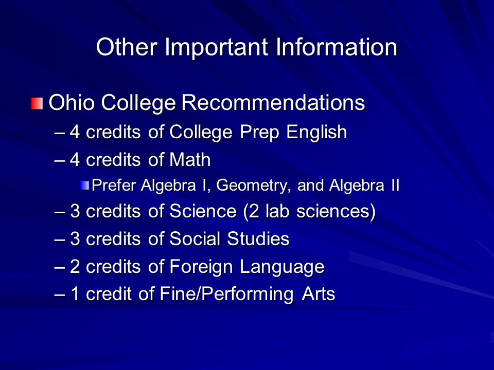 Other Important Information Ohio College Recommendations –4 credits of College Prep English –4 credits of Math Prefer Algebra I, Geometry, and Algebra