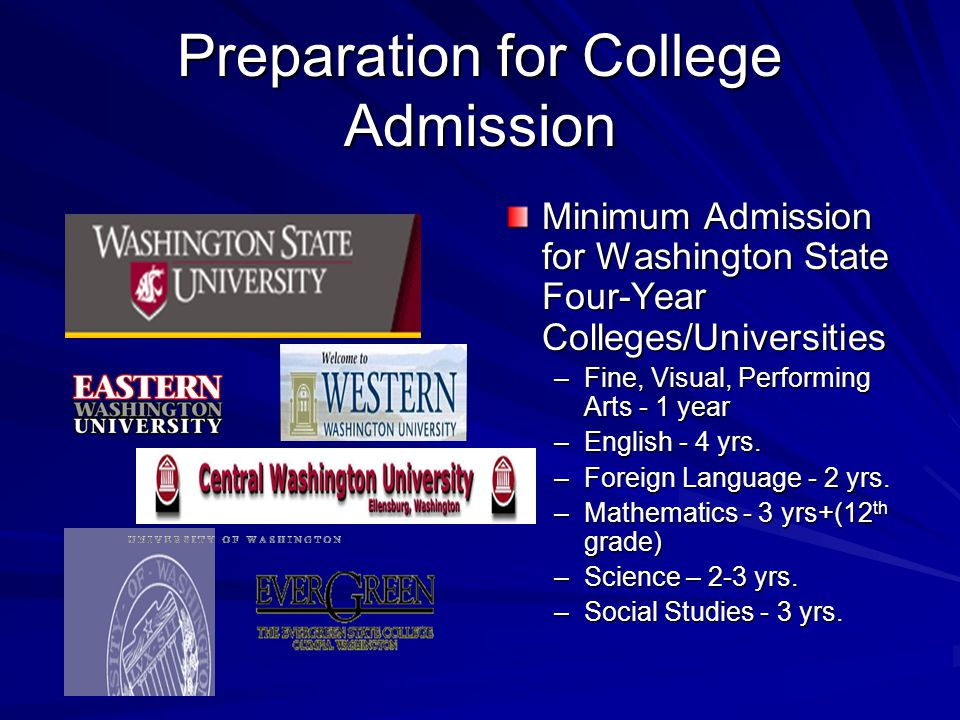 College Admissions Required curriculum different for some schools SAT/ACT Extracurricular activities Personal Statement GPA and test scores Counselor/Teacher recommendations Plan College visits!