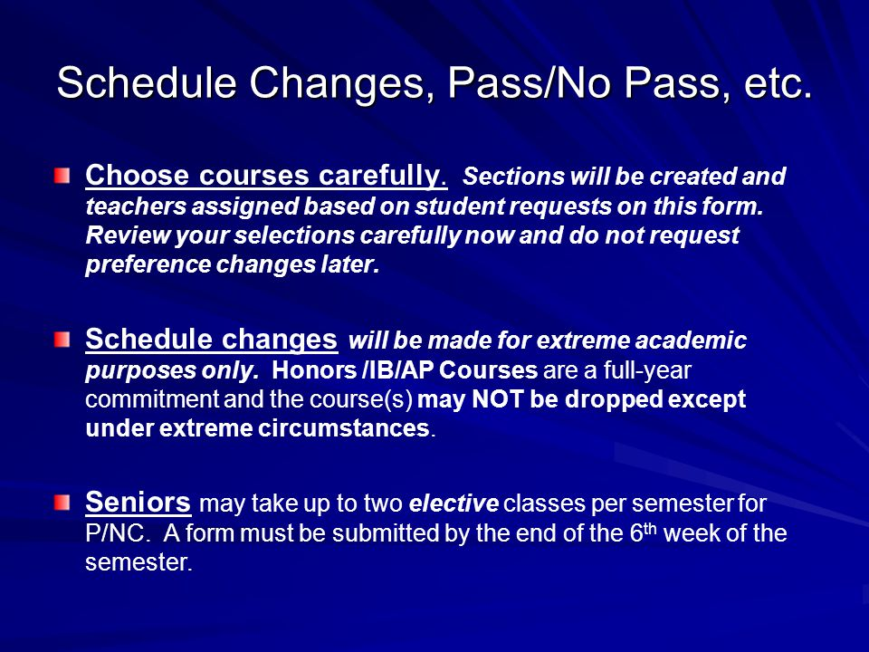 Typical Schedule for 12 th Grader
