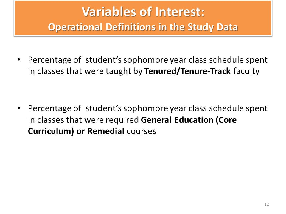 Variables of Interest: Operational Definitions in the Study Data Percentage of student's sophomore year class schedule spent in classes that were taug