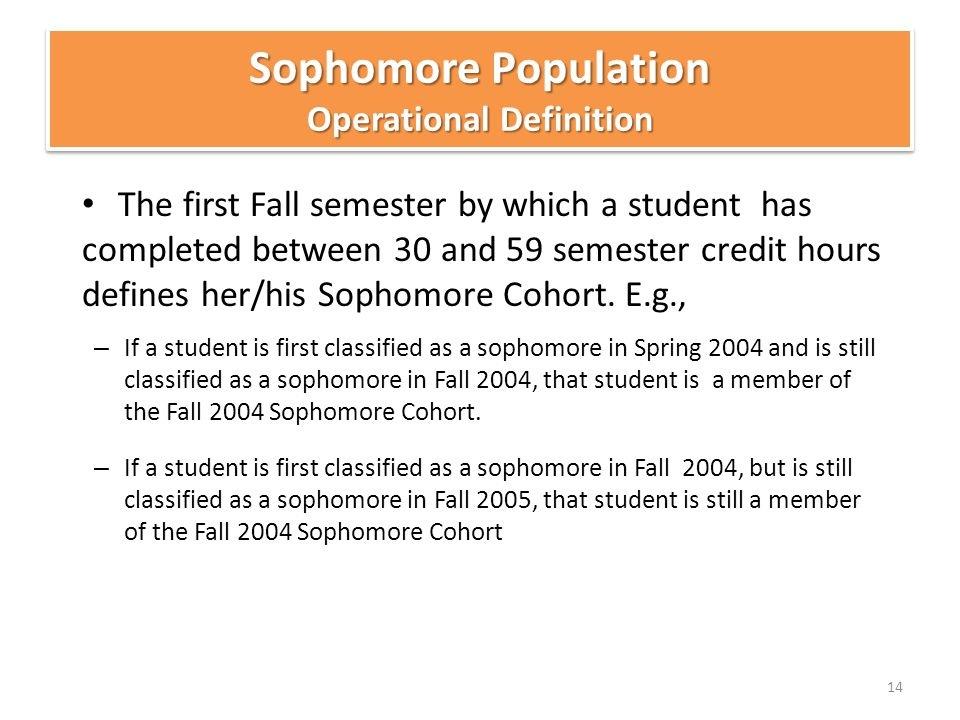 The first Fall semester by which a student has completed between 30 and 59 semester credit hours defines her/his Sophomore Cohort.