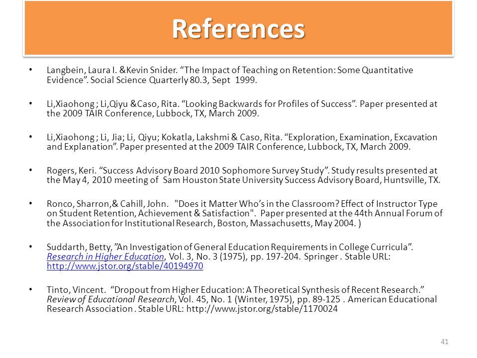 ReferencesReferences Langbein, Laura I. &Kevin Snider.
